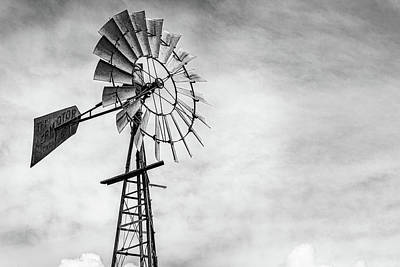 Photograph - Windmill In Monochrome by Randy Bayne