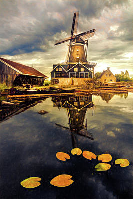 Photograph - Windmill In The Dutch Countryside In Late Autumn by Debra and Dave Vanderlaan
