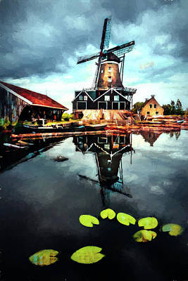 Photograph - Windmill In The Dutch Countryside Painting by Debra and Dave Vanderlaan