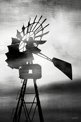 Black And White Art Mixed Media - Windmill In The Wind- Art By Linda Woods by Linda Woods