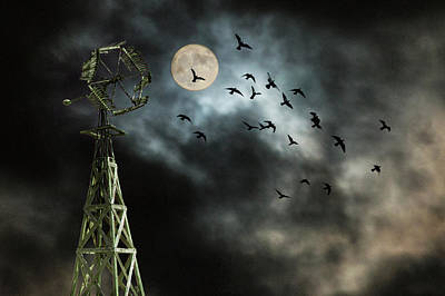Photograph - Windmill With Moon And Flying Blackbirds by Randall Nyhof