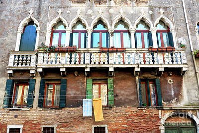 Photograph - Window Arches In Venice by John Rizzuto