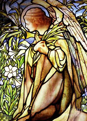 Glass Art - Window Depicting A Kneeling Angel by American School