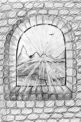 Drawing - Window In An Ancient Castle by Dobrotsvet Art