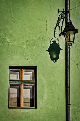 Photograph - Window Streetlight And Shadow - Romania by Stuart Litoff