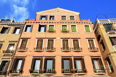 Photograph - Windows Along Riva Degli Schiavoni Venice by John Rizzuto
