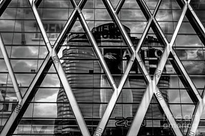 Photograph - Windows Reflections In Black And White by Michelle Meenawong