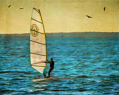 Photograph - Windsurfer At Sunset by Cathy Kovarik