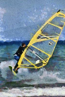 Painting - Windsurfing On A Windy Day by George Atsametakis
