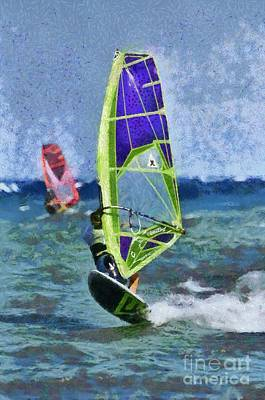 Painting - Windsurfing On A Windy Day I by George Atsametakis