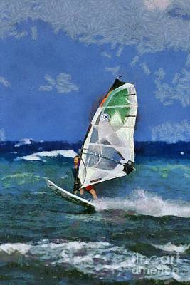 Painting - Windsurfing On A Windy Day II by George Atsametakis