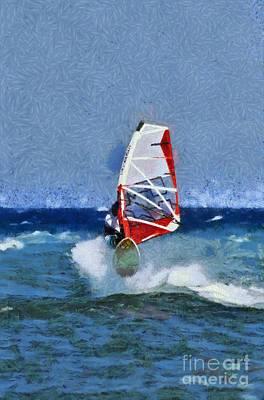Painting - Windsurfing On A Windy Day IIi by George Atsametakis