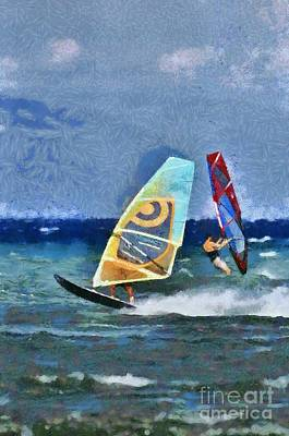 Painting - Windsurfing On A Windy Day Iv by George Atsametakis