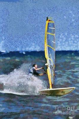 Painting - Windsurfing On A Windy Day V by George Atsametakis