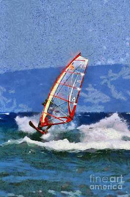 Painting - Windsurfing On A Windy Day Vi by George Atsametakis