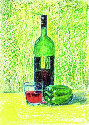 Painting - Wine And Capsicum by Asha Sudhaker Shenoy