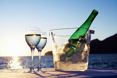 Photograph - Wine Glasses And Bottle Outdoors by Bill Holden