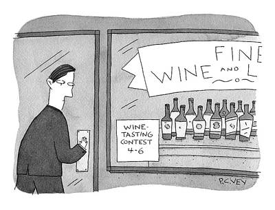 Drawing - Wine Tasting by Peter C Vey