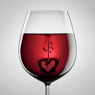 Photograph - Wineglass, Red Wine, Black Ink And by Thomasvogel