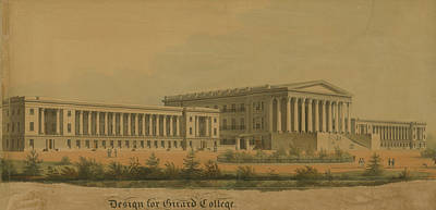 Drawing - Winning Competition Entry For Girard College by Thomas Ustick Walter