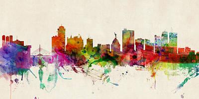 Digital Art - Winnipeg Canada Skyline Panoramic by Michael Tompsett