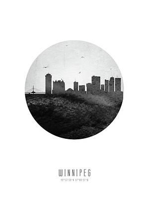 Digital Art - Winnipeg Skyline CAMBWI04 by Aged Pixel