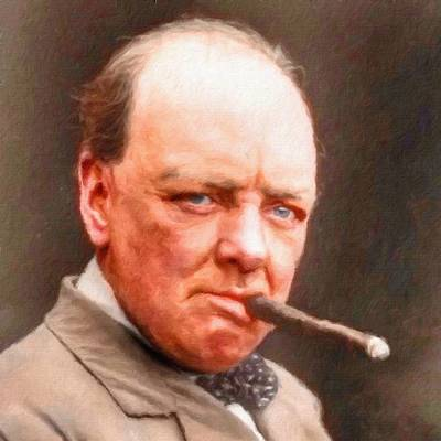 Painting - Winston Churchill, Portrait by Vincent Monozlay