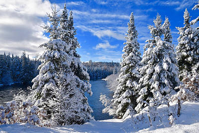 Thomas Kinkade Royalty Free Images - Winter along the AuSable 1099 Royalty-Free Image by Michael Peychich