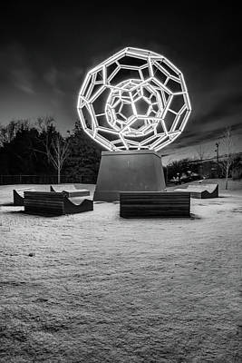 Photograph - Winter At The Buckyball - Crystal Bridges Museum - Monochrome by Gregory Ballos