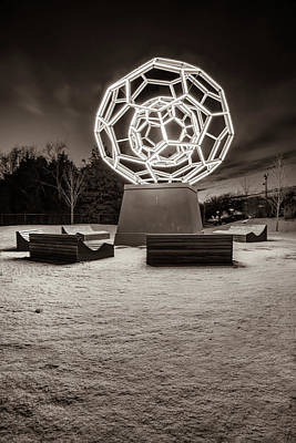 Photograph - Winter At The Buckyball - Crystal Bridges Museum - Sepia by Gregory Ballos