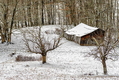 Photograph - Winter Barn Farm Scene by Thomas R Fletcher