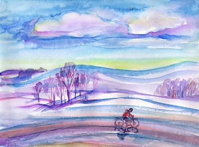 Painting - Winter Bike Ride by Dobrotsvet Art