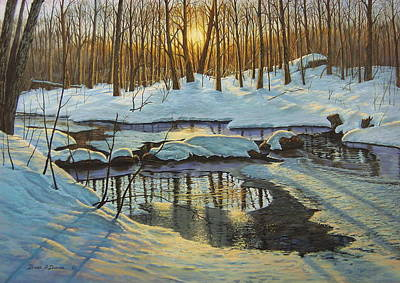 Painting - Winter Brook Sunset by Bruce Dumas