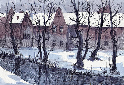 Drawing - Winter Bruges by Ina Petrashkevich