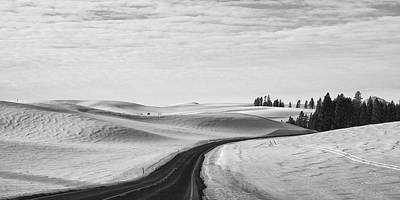 Photograph - Winter Country Road 2 Bw by Tatiana Travelways