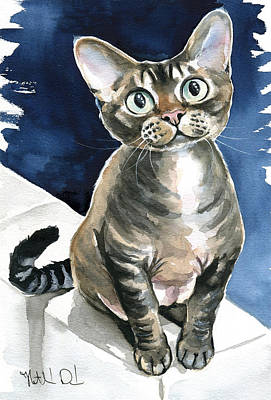 Painting - Winter Devon Rex Cat Painting by Dora Hathazi Mendes