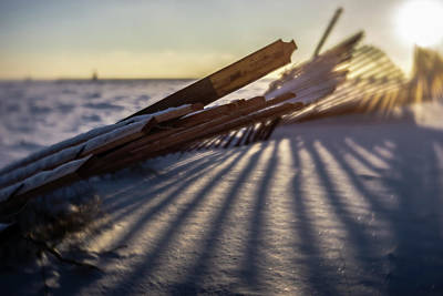 Photograph - Winter Dunes Fence At Sunrise  by Sven Brogren