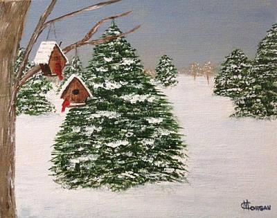 Cynthia Morgan Wall Art - Painting - Winter Feeding by Cynthia Morgan