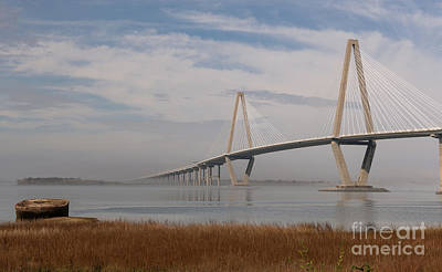 Photograph - Winter Fog - Arthur Ravenel Bridge - Charleston South Carolina by Dale Powell