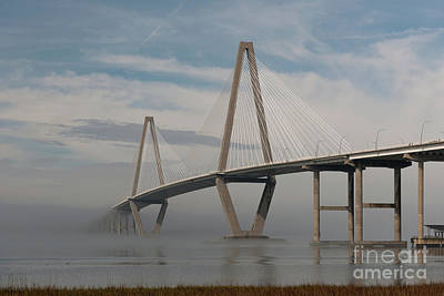 Photograph - Winter Fog - Cooper River Bridge In Charleston South Carolina by Dale Powell