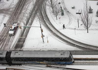 Photograph -  Winter  Footprints No. 1 by Juan Contreras