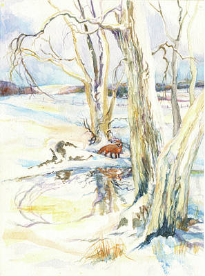 Painting - Winter Fox by Nancy Watson