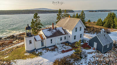 Photograph - Winter Harbor Light by Michael Hughes