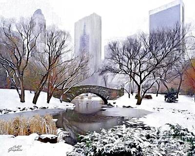 Digital Art - Winter In Central Park by CAC Graphics