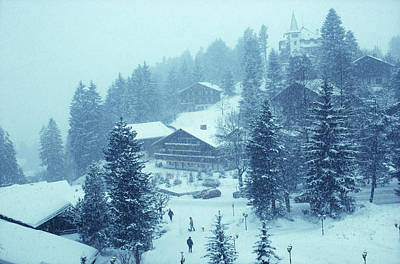 Ski Resort Photograph - Winter In Gstaad by Slim Aarons