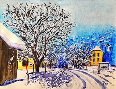Painting - Winter in Laas by Monika Arturi