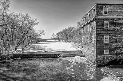 Photograph - Winter In Princton - Kensington Mill In Black And White by Bill Cannon