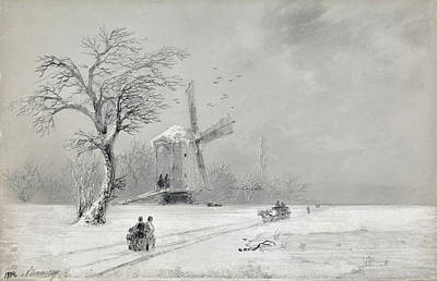 Drawing - Winter In Ukraine by Ivan Konstantinovich Aivazovsky