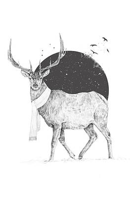 White Deer Wall Art - Drawing - Winter Is All Around by Balazs Solti