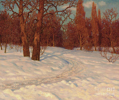Painting - Winter Landscape At Dusk by Ivan Fedorovich Choultse
